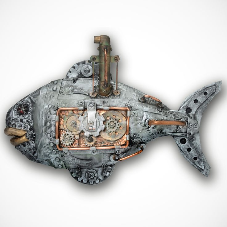 Internal Workings (Fish) Metal Wall Art / Steampunk Art   For Sale. Metal