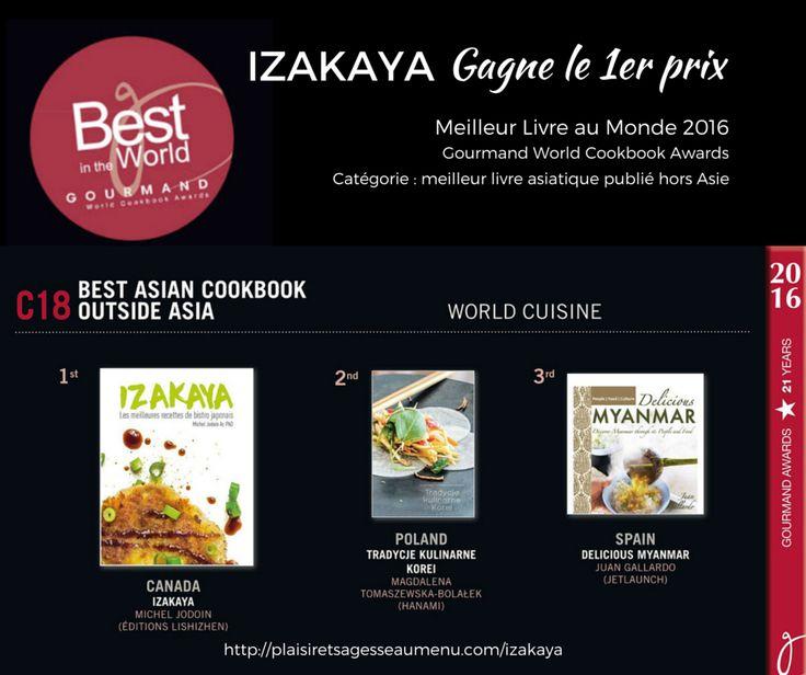 Izakaya gagne le 1er prix au Gourmand World Cookbook Awards à Yantai en Chine !