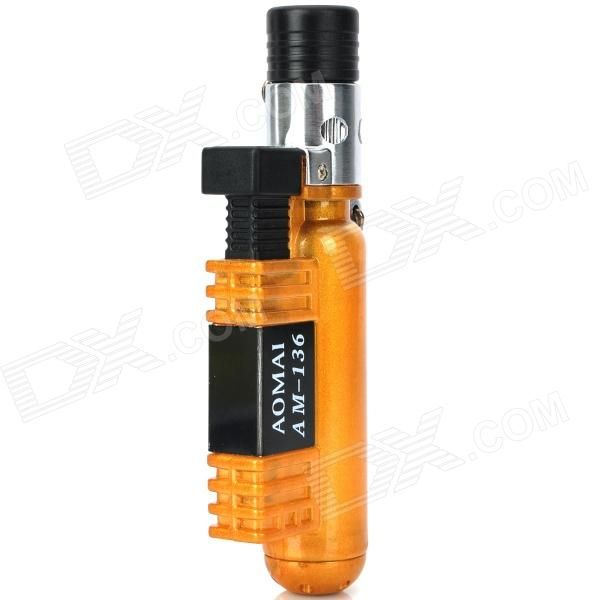 Model: N/A; Quantity: 1 piece(s) per pack; Color: Yellow; Material: Stainless steel; Style: Gas; Flame Color: Blue; Fuel: Butane; Windproof: Yes; Specification: for soldering and lighter; Packing List: 1 x Butane Jet Soldering Torch Lighter; http://j.mp/1oPqMJT