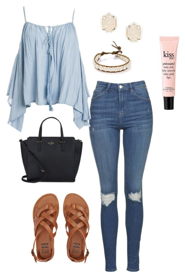 """""""Spring Fling- Autumn// @simply-southern-prep"""" by sweet-southern-preps ❤ liked on Polyvore featuring Topshop, Sans Souci, Billabong, Kate Spade, Kendra Scott, philosophy and Chan Luu"""