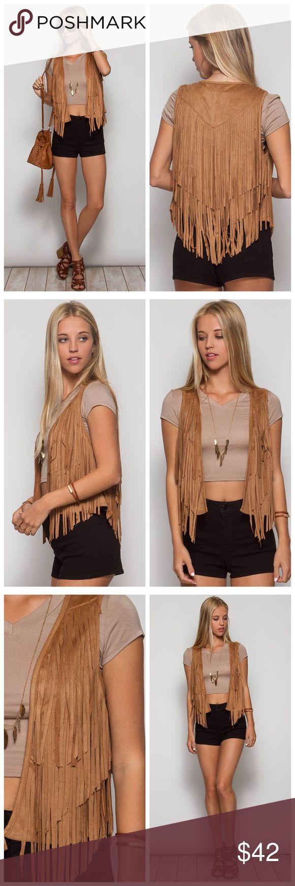 Suede fringe vest Camel suede fringe vest Jackets & Coats Vests