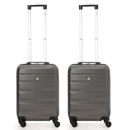 From 40.99:Aerolite Abs Hard Shell 4 Wheel Spinner Iata Cabin Suitcase Hand Luggage 55 Cm 33 Litre Charcoal Set Of 2
