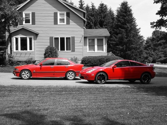 The good 'ol red cars....BMW 3-Series & 2000 Toyota Celica GT-S