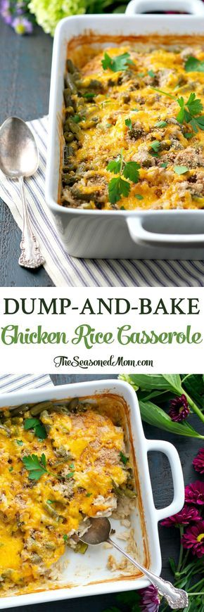 You only need 5 minutes to prepare this Dump-and-Bake Chicken Rice Casserole -- an easy dinner that cooks in one dish!