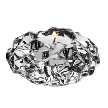 Orrefors  Carat Votive Candle Holder - Small: Drawing inspiration from jewels and gemstones, Lena Bergström has used new techniques to achieve the appearance of cut diamonds as seen here in the Carat crystal votive.