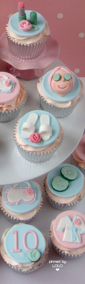 Check out these fun spa-themed cupcakes — these are great for a girls birthday party.