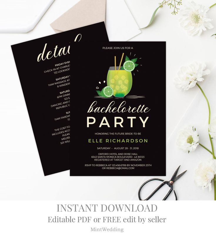 Cocktail Bachelorette Party Invitation Template Printable Beach