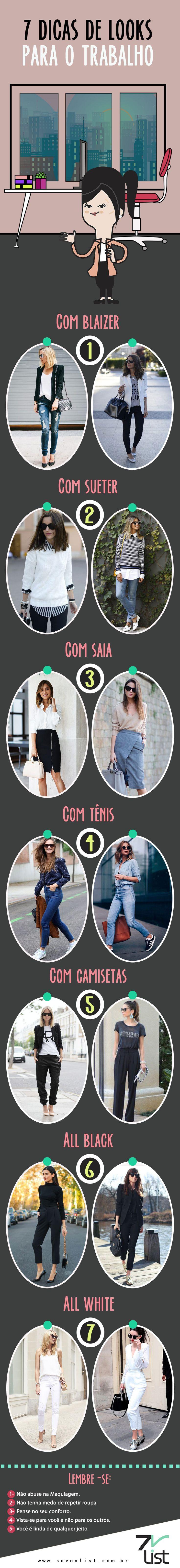 Confira 7 dicas de looks para usar no trabalho.