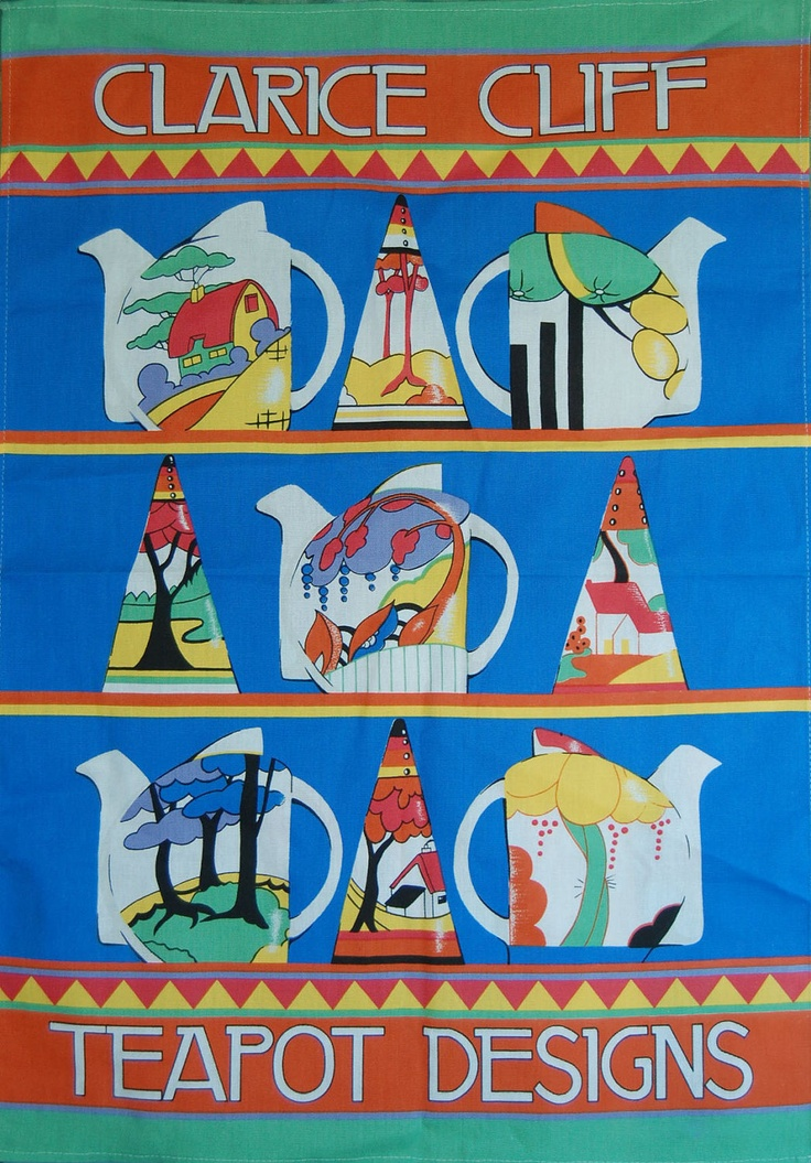 Clarice Cliff Teapot Designs tea towel depicts teapots in art deco Stamford shape in various patterns, UK