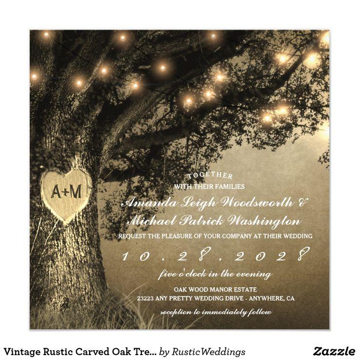 vintage country garden wedding invitations%0A Vintage Rustic Carved Oak Tree Wedding Invitations