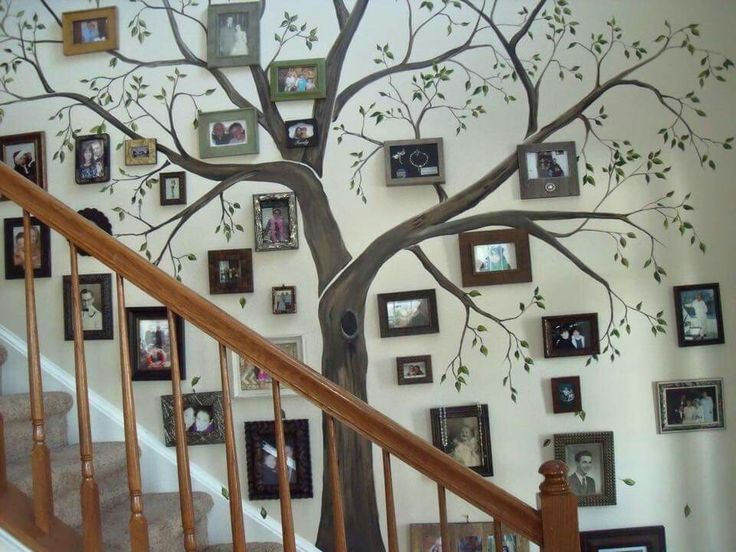 Painted tree on wall with framed pics