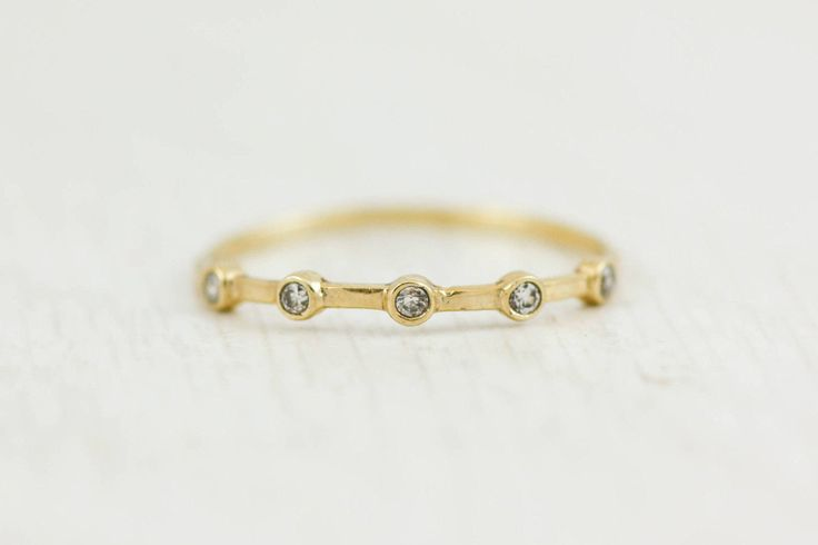Dainty Diamond Ring 5 Diamond Ring Bezel Diamond Ring 14K