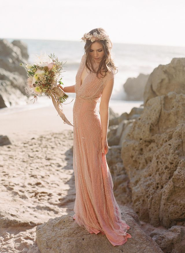Blush pink beaded wedding dress | Laura Murray Photography | see more on: http://burnettsboards.com/2015/01/salt-earth-malibu-beach-wedding/