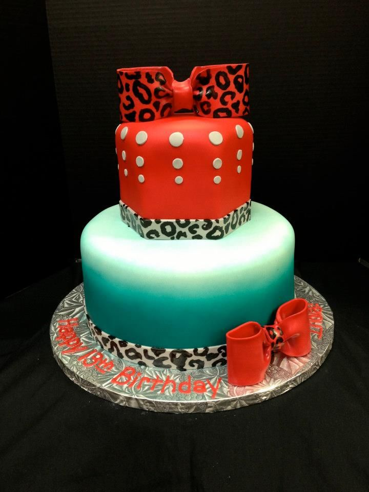 Diva Round and Hexagonal cake with hand painted animal print.  -Jo's Custom Cakes and Catering