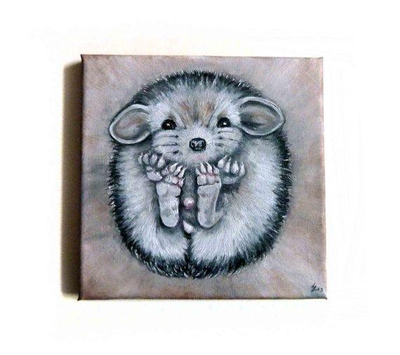 Original oil painting  Hedgehog animal painting by JankaLart