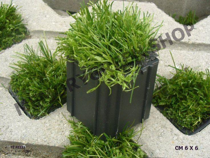 Cubotto in erba artificiale per passi carrabili  cm 6 x 6  confezione pz 72