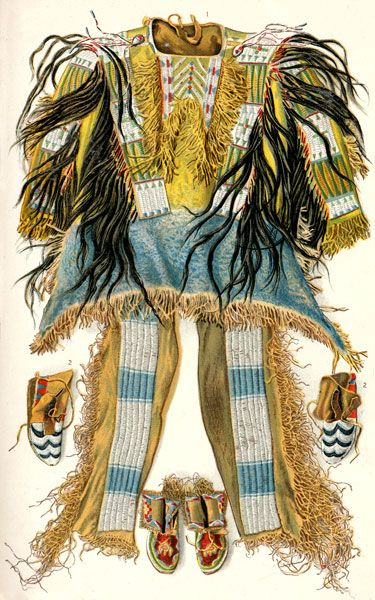 Sioux Clothing: Red Cloud's Buckskin War Shirt, Ornamented with Human Scalps and Bead, Beaded Leggings and Moccasins