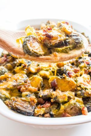 Roasted Bacon Brussels Sprouts Au Gratin (Low Carb, Gluten-free) - This low carb, gluten-free recipe features oven roasted brussels sprouts in creamy cheddar au gratin sauce. Only 9 simple ingredients!
