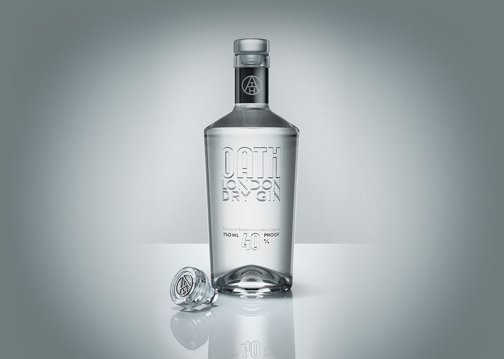 Oath London dry gin packaging. Using clear Vinolok closure with a metal decoration.