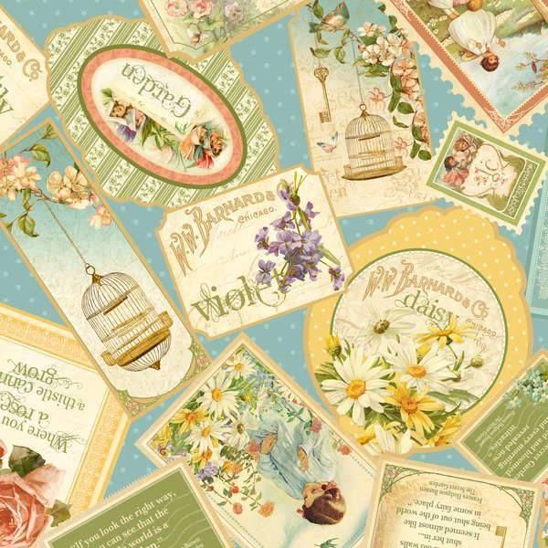 ** Secret Garden - Packed Cards in Blue-Secret, Garden, Wilmington, Fabric
