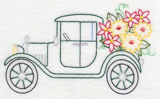 Model T in Bloom (Vintage) design (K7448) from www.Emblibrary.com