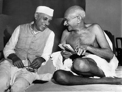 Jawaharlal Nehru and Mahatma Gandhi --Jawaharlal Nehru sharing a joke with Mahatma Gandhi, Mumbai, July 6, 1946.