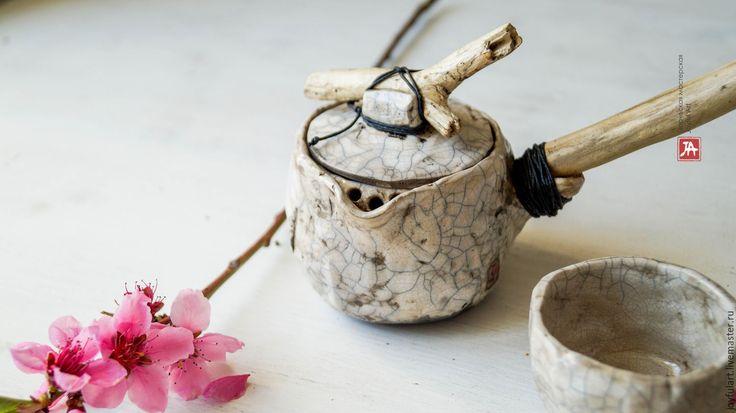 """Купить набор чайный """"белое раку"""" раку обжиг - белый, Керамика, чайная церемония, набор"""