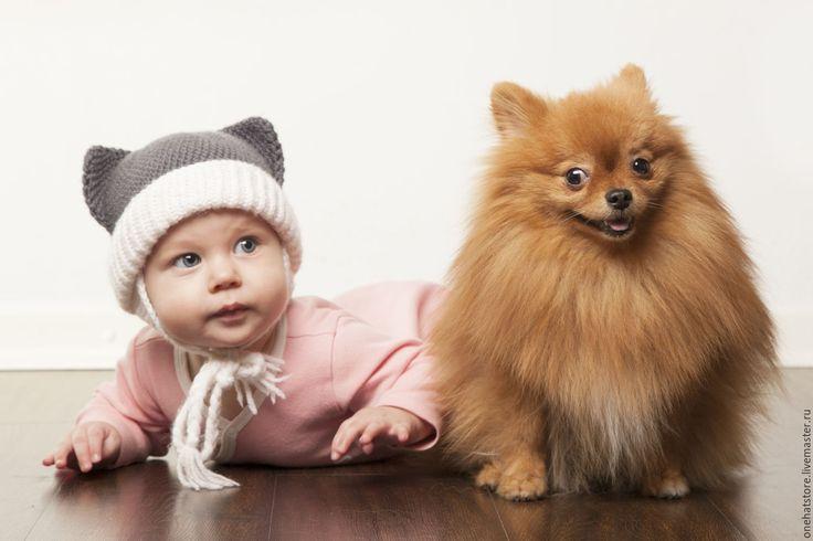 Купить Серая детская вязаная шапка-котик с ушками с белыми элементами - коричневый, вязаная шапка
