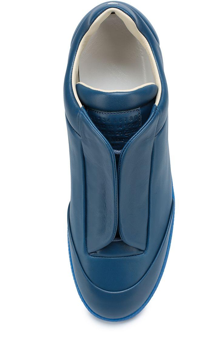 Мужские синие кожаные кеды future со скрытой шнуровкой Maison Margiela, сезон SS 2017, арт. S37WS0308/SX8966 купить в ЦУМ   Фото №4