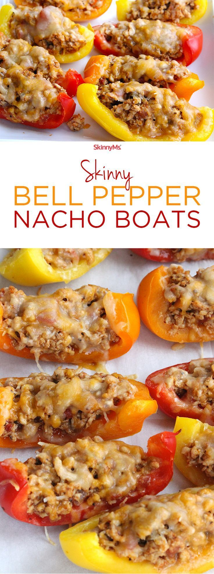 These Skinny Bell Pepper Nacho Boats are  Low-Carb, Low-Calorie, High Protein…