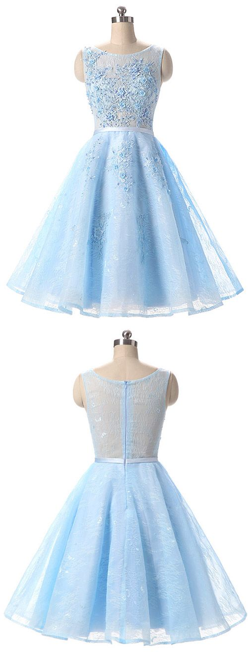 Short Prom Dresses Lace, Blue Cocktail Dresses A-line, 2018  Prom Dresses For Teens, Cheap Homecoming Dresses Modest