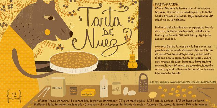 tarta+de+nuez_pati+aguilera_cositas+ricas+ilustradas_recetario+ilustrado+chile.jpg 1,200×600 pixels