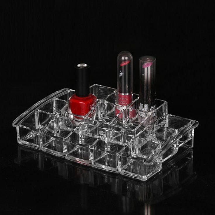 Eco-friendly 15 Lattice plastic jewelry storage boxes cosmetics stand lipstick holder brush Display Showcase boite for women
