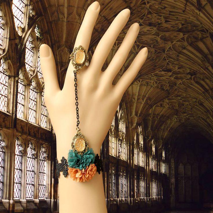 Принцесса готы Лолита Старинные моды невесты аксессуары браслет с драгоценными ер ен ос одна цепочка кусок набор кристалл fring