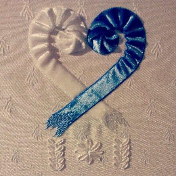 Velvet ribbon heart #embroidery