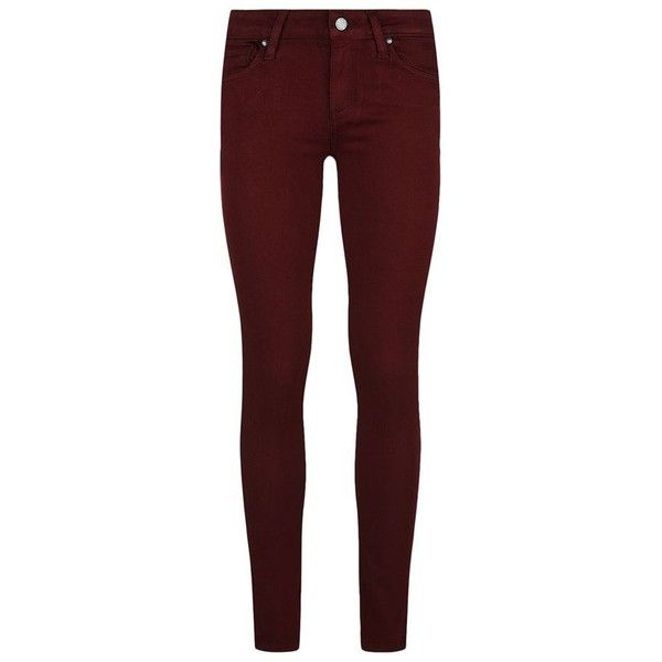 Paige Verdugo Ankle Transcend Ultra-Skinny Jeans found on Polyvore featuring jeans, pants, bottoms, jeans/pants, burgundy skinny jeans, denim jeans, skinny fit jeans, red skinny jeans and super stretch skinny jeans