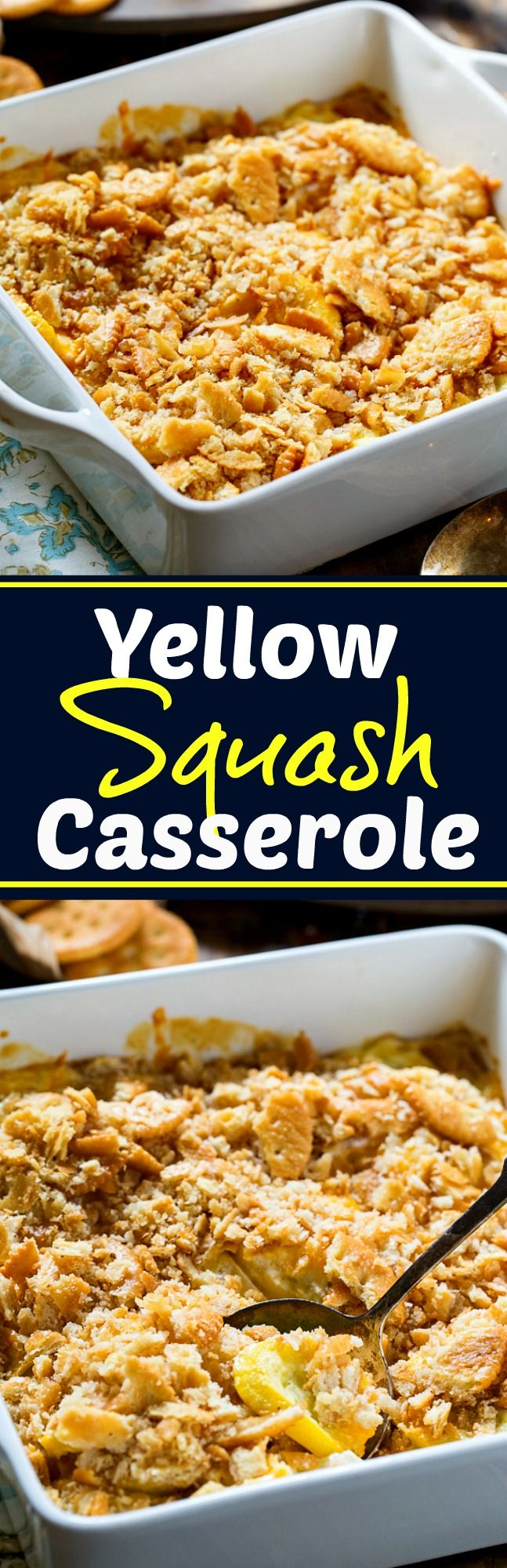Yellow Squash Casserole is super creamy with a buttery cracker topping.