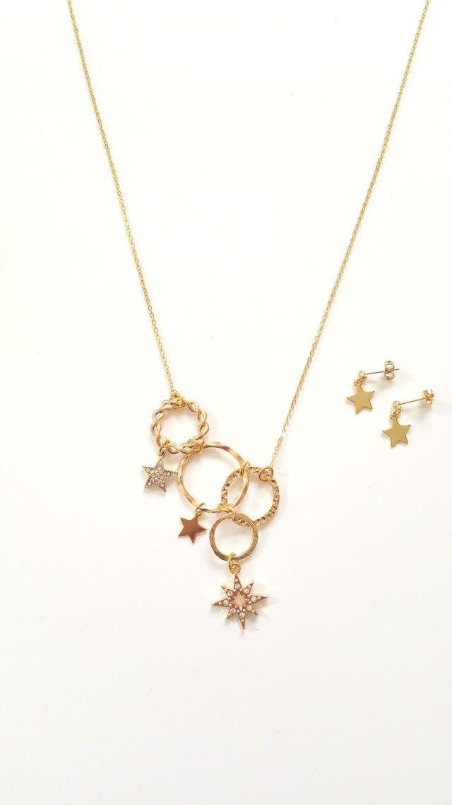circle - star necklace&piace set