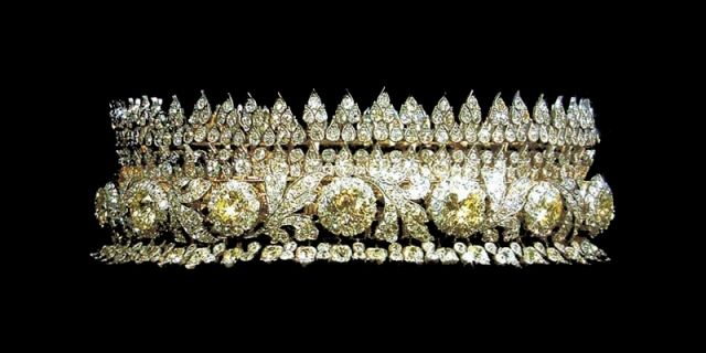 Thai Royal Tiara. There are parts of the tiara  that can be removed and worn as bracelets.