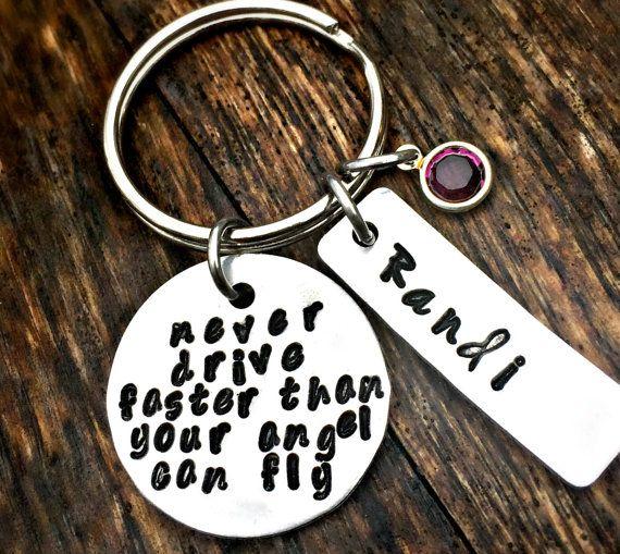 New Driver, Guardian Angel, Amethyst Birthstone, Sweet 16 Presents, Teenager Gifts, February Birthday, Teen Girls, Hand Stamped Key Chain