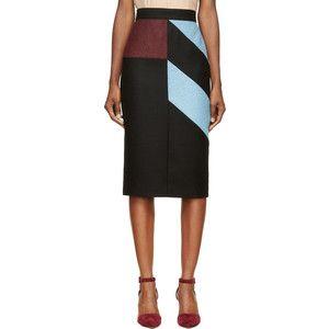 Roksanda Ilincic Black Colorblocked Alba Pencil Skirt