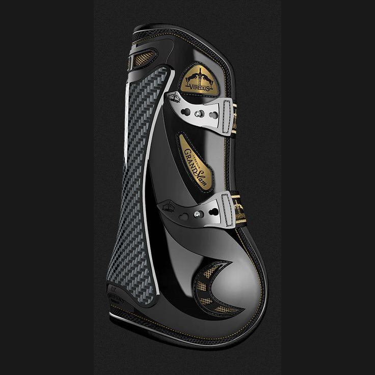 Protezione per il cavallo sportivo. Paratendini Veresus Nero Line Gold Ediction: alta tecnologia e innovazione impreziositi da dettagli dorati.