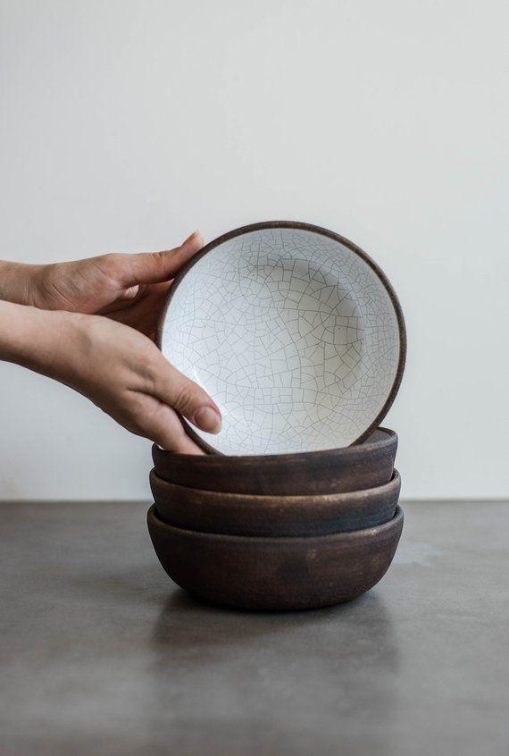 Handmade Ceramic Crackle Cereal Bowl Stoneware Bowl Dinnerware Set Ramen Bowl Ceramic Bowl Stonewar Stoneware Dinnerware Ceramic Bowls Handmade Ceramics