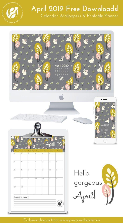 april 2019 free calendar wallpapers printable planner illustrated rh pinterest com