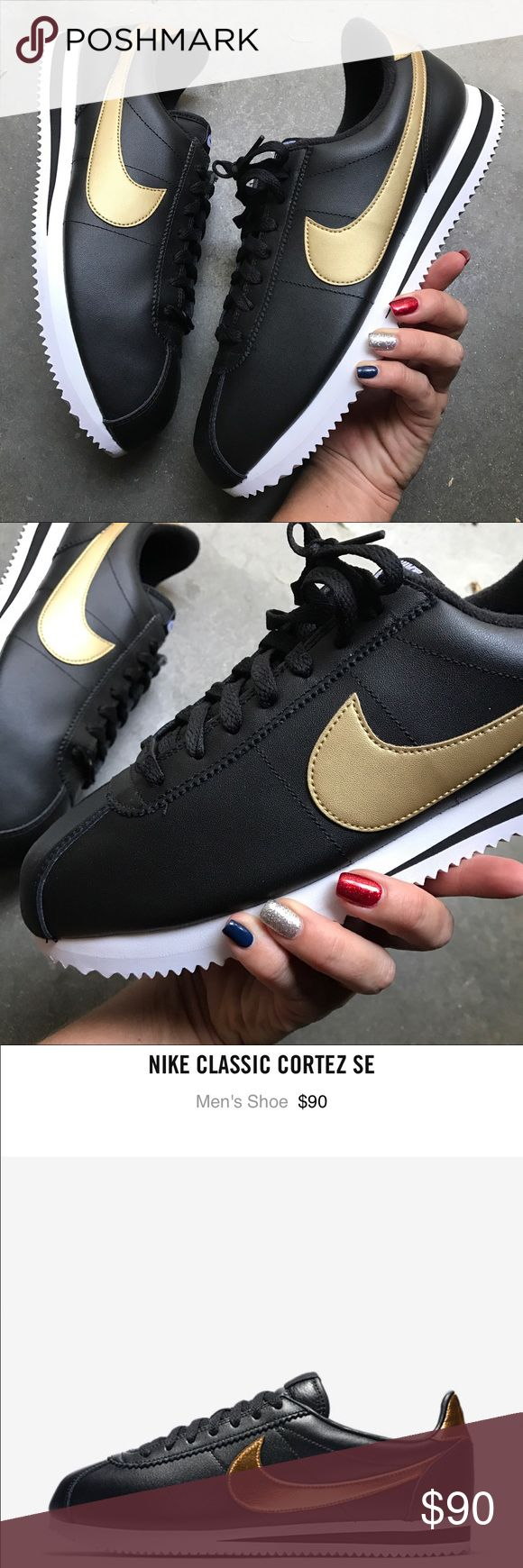 NEW | NIKE MENS CORTEZ SE LEATHER BLACK GOLD 11.5 New never worn 😍 NIKE CLASSIC CORTEZ | BLACK & GOLD LEATHER SPECIAL EDITION ALL LEATHER. EXTRA CORTEZ LACE CHARM.   NO ORIGINAL BOX, smoke free home. WILL SHIPPED BOXED AND SECURE.   PRICED FIRM. 100% authentic & direct from NIKE. Nike Shoes Athletic Shoes