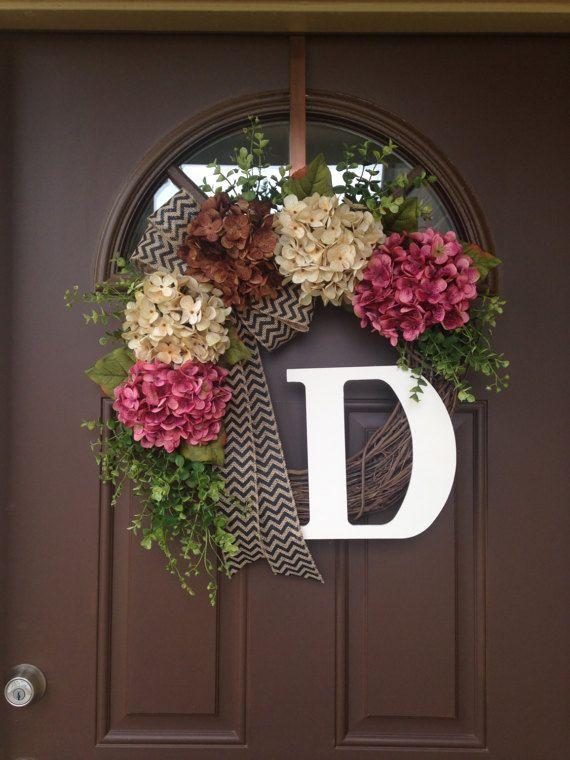 Spring Wreath For Front Door   Monogram Wreath   Hydrangea Wreath    Grapevine Wreath With Burlap
