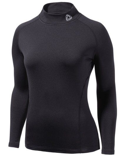 TM-WT32-BB_Small j-m Tesla Women's Thermal Fleece Coldgear Compression Baselayer Mock Long Sleeve T Shirts WT32