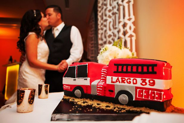 This firetruck groom's cake is SO cool!