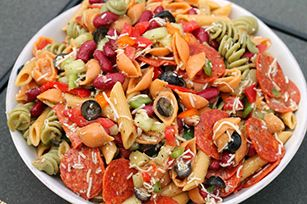 Tuscan House Italian Pasta Salad  what you need 12 oz.  tri-color veggie pasta 1 can  (15 oz.) dark red kidney beans, drained and rinsed 1 can  (2.25 oz.) black olives, drained 1 cup  chopped assorted peppers (I used 2 small sweet and 1 Anaheim) 1 cup  diced cucumber 1  diced Roma tomato 1-1/2 cups  KRAFT Tuscan House Italian Dressing 1 cup  KRAFT Shredded Italian* Five Cheese Blend 1/2 tsp.  black pepper 2 oz.  pepperoni (about 35 pieces)