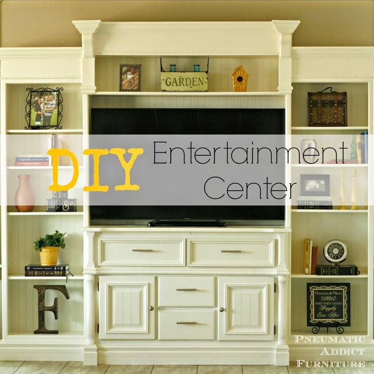Pneumatic addict furniture diy entertainment center for Media center with bookshelves